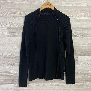 Dekker Black Double Full Zip Heavy Ribbed Sweater